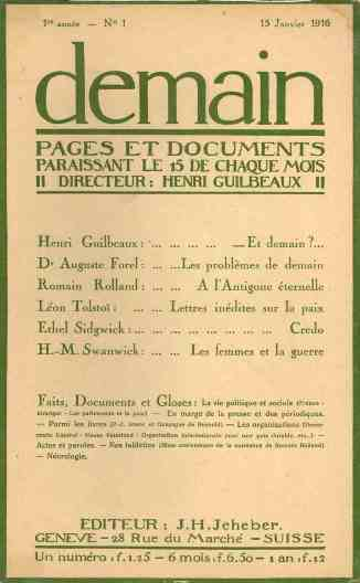 Demain: Pages et Documents. Paraissant le 15 de Chaque Mois. Nos. 1 (January 1916) through 11/ 12 (November/ December 1916).