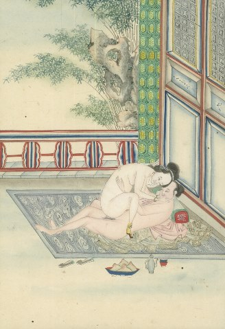(Chinese Paintings)- 19th-Century Album of Chinese Erotic Watercolor Paintings.