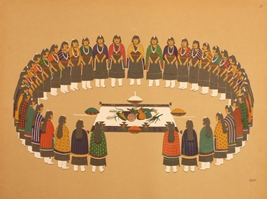 Pueblo Indian Painting. 50 Reproductions of Watercolor Paintings by Indian Artists of the New Mexican Pueblos of San Ildefonso and Sia. Hartley Burr Alexander.