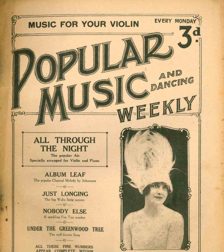 Popular Music and Dancing Weekly. Vol. I, No. 1 (26 January 1924) through Vol. XI, No. 143 (23 October 1926) (all published?); followed by Modern Melodies: Popular Song & Dance Hits, Vol. I, No. 1 (30 October 1926) through Vol. II, No. 23 (2 April 1927).