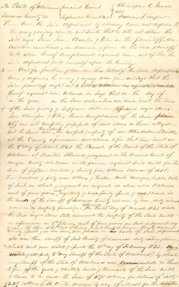 Handwritten Court Document Regarding Slavery in Alabama.