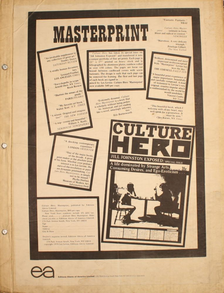 Culture Hero, Masterprint. Jill Johnston Exposed: Special Issue. Les Levine.