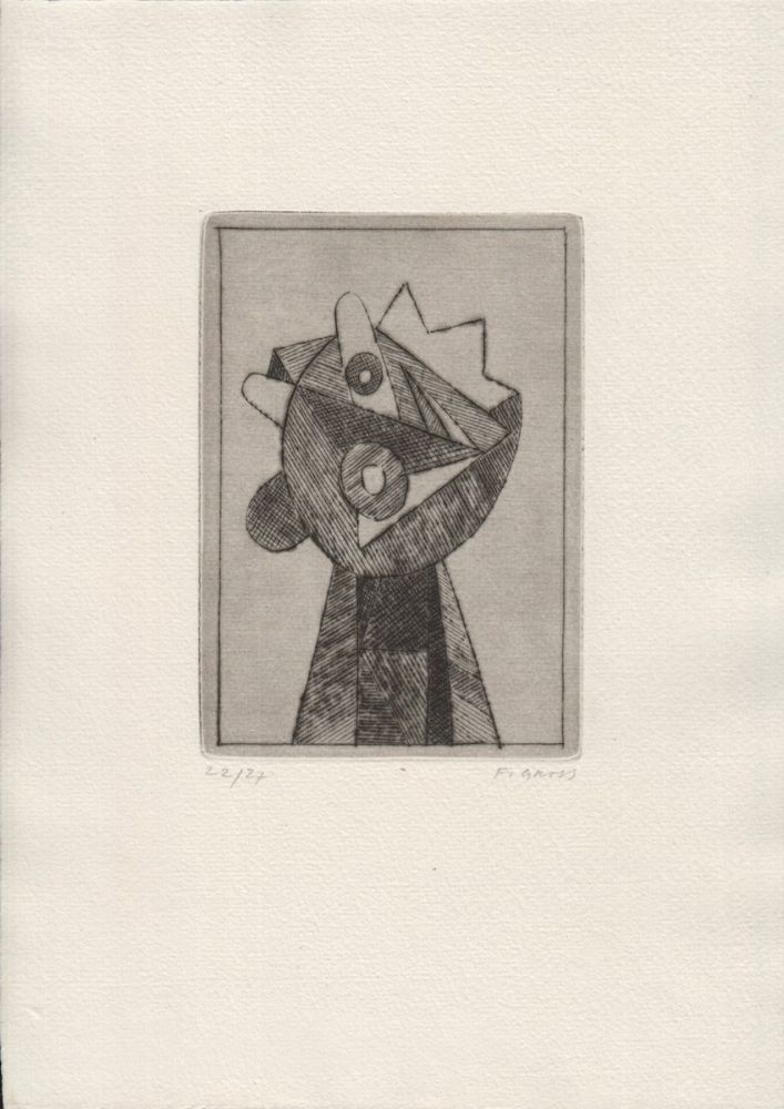 FG 1973. Cycle of four drypoint etchings, signed, laid into original printed folder. František Gross, 1909–1985.