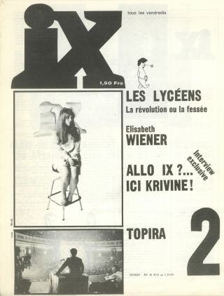 IX (Neuf). Nos. 1 (23 May 1969) through 5 (26 June 1969) (all published).