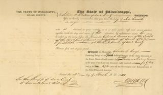 Adams County, Mississippi, Writ of Habeas Corpus. Mississippi, Probable runaway slave document.-.