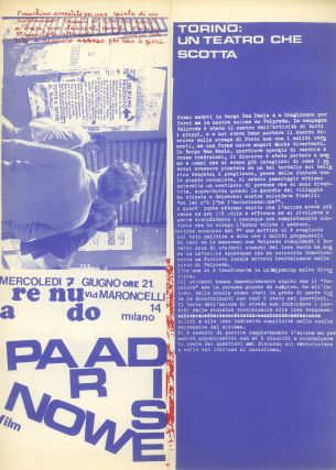 Pantere Bianche: Periodico di Pratica Sociale Alternativa. Nos. 0 (Apr. 1972) and 1 (May 1972) (all published).