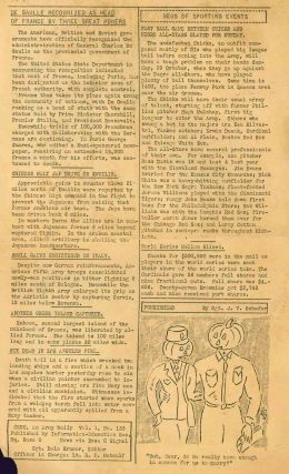 CEBU, An Army Daily. Vol. I, No. 133 (26 October 1944) through Vol. II, No. 26 (26 January 1945).