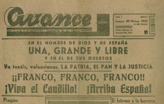 Avance. Diario de la 3a. Cia. de Radiodifusión y Propaganda en los Frentes. Year I, No. 1 (30 March 1939) through Year I, No. 17 (15 April 1939) (all published).