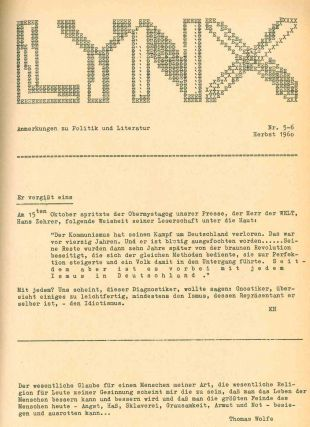 Lynx: Anmerkungen zu Politik und Literatur. No. 1 (March 1960) through No. 32 (Winter 1966/67)...