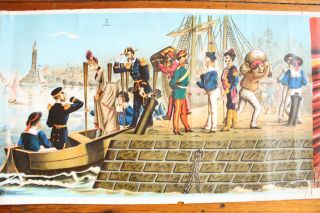 Late 19th Century Scroll Depicting Arrival of Europeans in Northern Africa