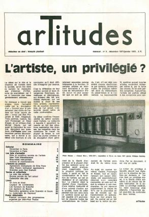 Artitudes. Revue Mensuel. No. 1 (October 1971) through No. 8/9 (July/August/September 1972) (all published in this series).