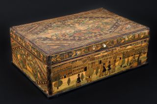 Hand-made wooden box with straw inlay work by the legendary Bohemian robber and folkloric hero Václav Babinský.