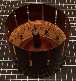 German toy zoetrope with five strips of pre-cinematic optical illustions.