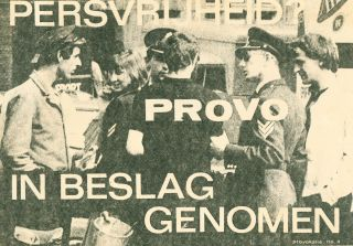 "Provokatie [Provocation], nos. 1–17. Includes the original edition of Provokatie no. 3, featuring the image of Prince Bernhard of the Netherlands, later censored and replaced by red pencil annotation ""censuur."""