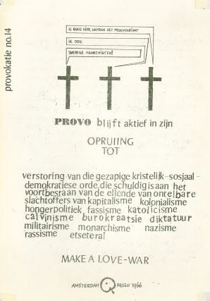 """Provokatie [Provocation], nos. 1–17. Includes the original edition of Provokatie no. 3, featuring the image of Prince Bernhard of the Netherlands, later censored and replaced by red pencil annotation """"censuur."""""""