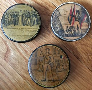 "Three 19th Century French ""July Revolution"" Snuffboxes or Tobacco Tins"