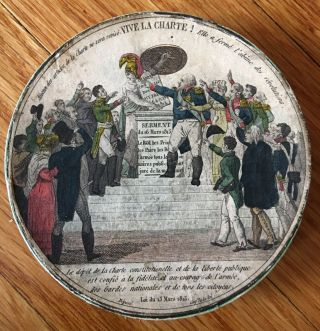 """Vive la Charte!"" 19th Century Chromolithographed Snuffbox"