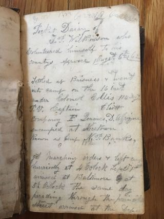Civil War Diary of Private Thomas P. Wilkinson.