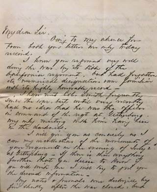 Civil War-era Letter from the Fight on Culp's Hill at the Battle of Gettysburg