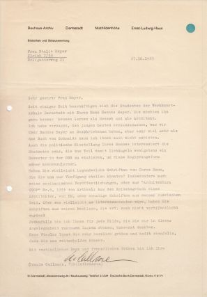 Large archive of documents concerning the artistic legacy and fate of works by Hannes Meyer...