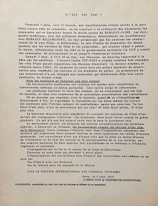 Collection of CMDO (Conseil pour le Maintien des Occupations) Documents from May 1968.