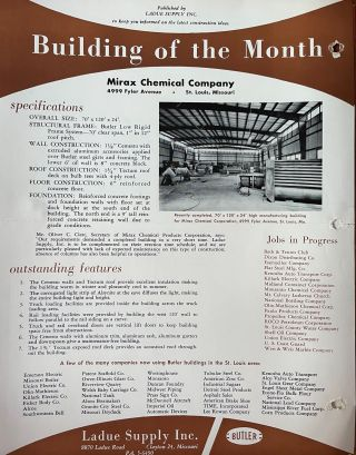 Photographic Architectural Archive of the Butler Manufacturing Company, St. Louis, Missouri.