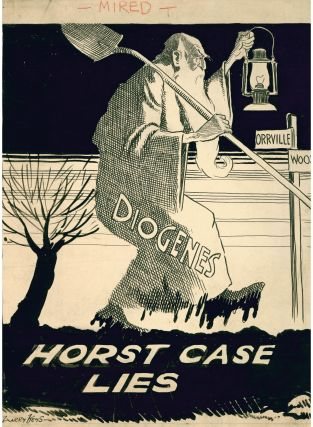 "Original ink caricature drawing ""Horst Case Lies"" regarding the disappearance of Melvin Horst."
