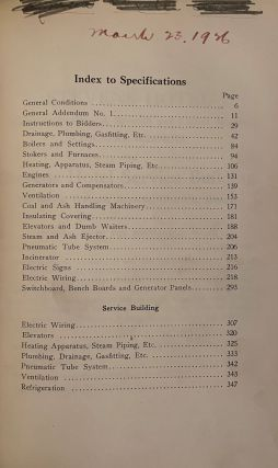 Stevens Hotel - Michigan Boulevard, Seventh and Eighth Streets, Chicago, Illinois and Stevens Hotel Service Building, 725 South Wabash Avenue, Chicago, Illinois. I. Specifications for General Work. II. Specifications for Mechanical Work.