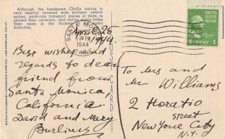 Postcard signed and inscribed by David Burliuk and his wife Mary. David Burliuk
