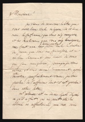 Manuscript Letter, Signed, in French, by Count Nicholas Repnin to Colonel von Essen (d'Essen)....