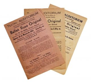 Three playbills for performances in Cuba, March-April 1941. Col. W. de Basil Balet Ruso Original,...
