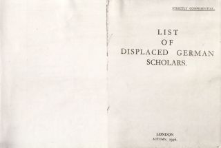 List of Displaced German Scholars. (Bound with) Supplementary List of Displaced German Scholars....