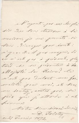 Two ALS by Count Dmitri Andreevich Tolstoy (1823–1889), a Russian politician who served as...