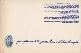 "New Year's greeting card: ""pour féliciter 1968, groupe Lacoste (Tchécoslovaquie).""...."