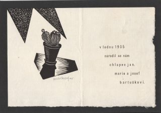 Original illustrated card, announcing the birth of Josef Bartuška's son in January 1935