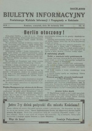 Biuletyn Informacyjny Powiatowego Wydziału Informacji i Propagandy w Kościanie [Information bulletin of the Kościan county department of Information and Propaganda]. Vol. I, nos. 23, 29, 34, 37, 41, 49, 50, 68.