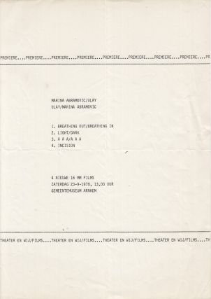 Original flyer announcing the premiere of four performances by Marina Abramović/Ulay,...