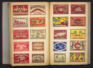 Two Albums of Japanese Matchbox Labels containing 560 and 291 labels respectively, each...