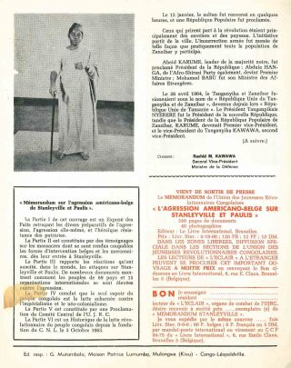 L'eclair: organe de combat de l'Union des Jeunesses Révolutionnaires Congolaises [The spark: combat organ of the Congolese Revolutionary Youth Union], nos. 5, 6 (1965) plus one supplement; 1-4 (1966); and no. 2 (1967), in total seven of twelve issues published.