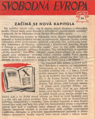 Free Europe Press Czech Propaganda Leaflet Distributed by Air Balloon]. Svobodná Evropa [Free...
